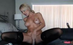 blonde babe rides her huge dildo