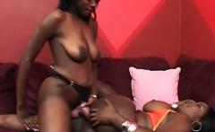 Ebony lesbo slut pussy drilled with fat strapon