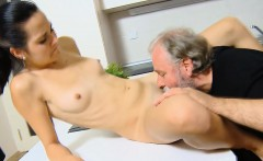 Appealing young chick takes old nasty cock in her mouth