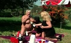 Granny Lesbian Outdoors Threesome