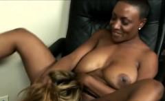 Next door MILF eats her busty ebony neighbors wet pussy