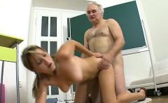 Honey gives old teacher blowjob till she gets cumshot