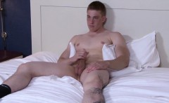 Ginger cadet hunk jerking his cock