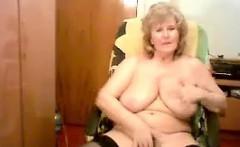 Busty Granny Masturbates On A Cam Show