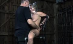 Restrained sub punished with water bondage