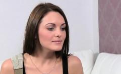 Slim female agent eats brunettes pussy