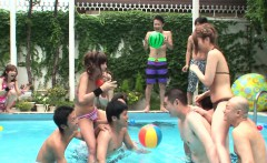 Skinny ass Asian sluts are having fun by the pool