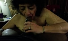 Cock - crazed Granny blowing a big black cock