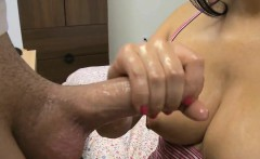 Sexy lady enjoys sucking that shaved and erected ramrod