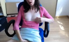 Webcam Girl Fingering At The Office