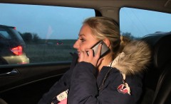 Busty blonde bangs taxi driver outdoor