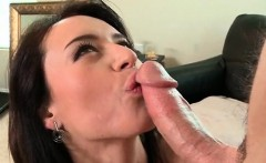 Busty mom sucks and deep throats huge cock