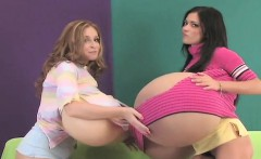 Spicy kittens shag the biggest strap-on dildos and spray spe