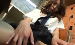 Saori horny teen fingers Asian pussy in the classroom