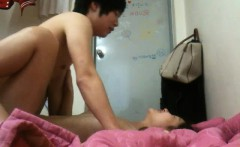 Sexy slim Oriental babe fucks her lover's hard dick every w