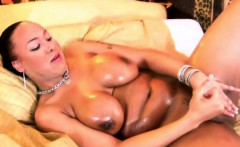 Corpulent shemale with massive tits jerks huge black cock