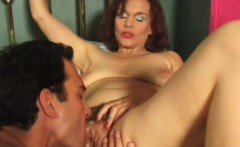 Insatiable redhead milf with big hooters gets nailed deep on the bed
