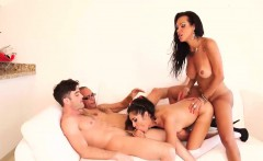 Cute and busty tranny having fun in a hardcore foursome sex
