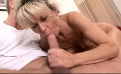 Foxy blonde cougar strips and gets her hairy snatch fingered and fucked