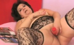 Fat granny in lingerie gets a young buck to suck on and bang her