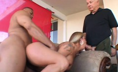 voluptuous blonde wife seizes the chance to suck and fuck a black pole