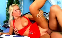 slutty blond kathy in red hot mini skirt gets the ride of her life from neeo