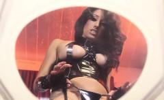 clitpierced dominatrix pisses all over slave