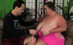Huge titted fatty Kayla rides a stiff cock