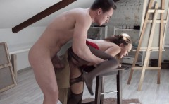 Nude male model rams his hard cock into a brunette painter's mouth and cunt