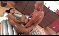 Slippery massage babe gets sex