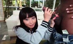 Little Asian school doll eats huge black cock