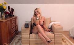 Sensational blonde drops her sexy white dress and displays