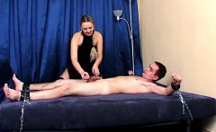 Mina ties manslave and plays with him