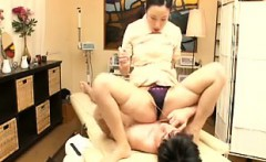 Elegant Oriental lady rips her pantyhose and gets her peach