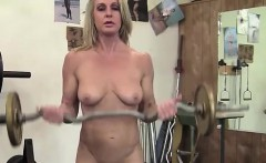 A Mature Blonde Nude in the Gym