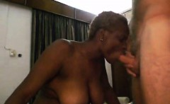 ebony woman gets while sucking dick her large breasts fondl