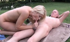 Old man fucks young blonde makes her swallow his cum
