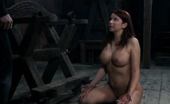 Clamped up playgirl gets a hook in her anal with toy torture