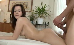 Pretty darling gives oral sucking after massage