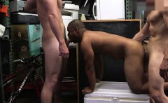 Straight dudes gay threesome in the shop