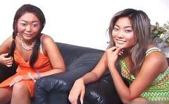 Cute asian lesbian threesome video