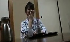 Delightful Japanese housewife has her lover eating out her
