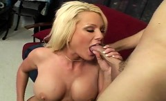 big boobed blonde chews on his rod and bounces her ass on him