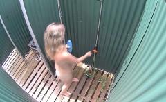Czech Blonde Milf Cought in Public Shower