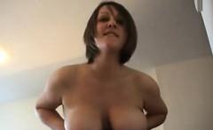 Natural big tit brunette fucks and sucks