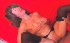 sixty lady in stockings fucked deep and jizz shot