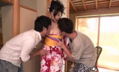 Wild encounter with two cocks for insolent Yuna Shiratori