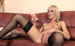 Betti Cane pleasures herself with an enormous dildo