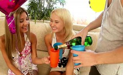 petite blonde teens share a cock