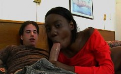 a large thick ramrod is inside a black pussy in this scene
